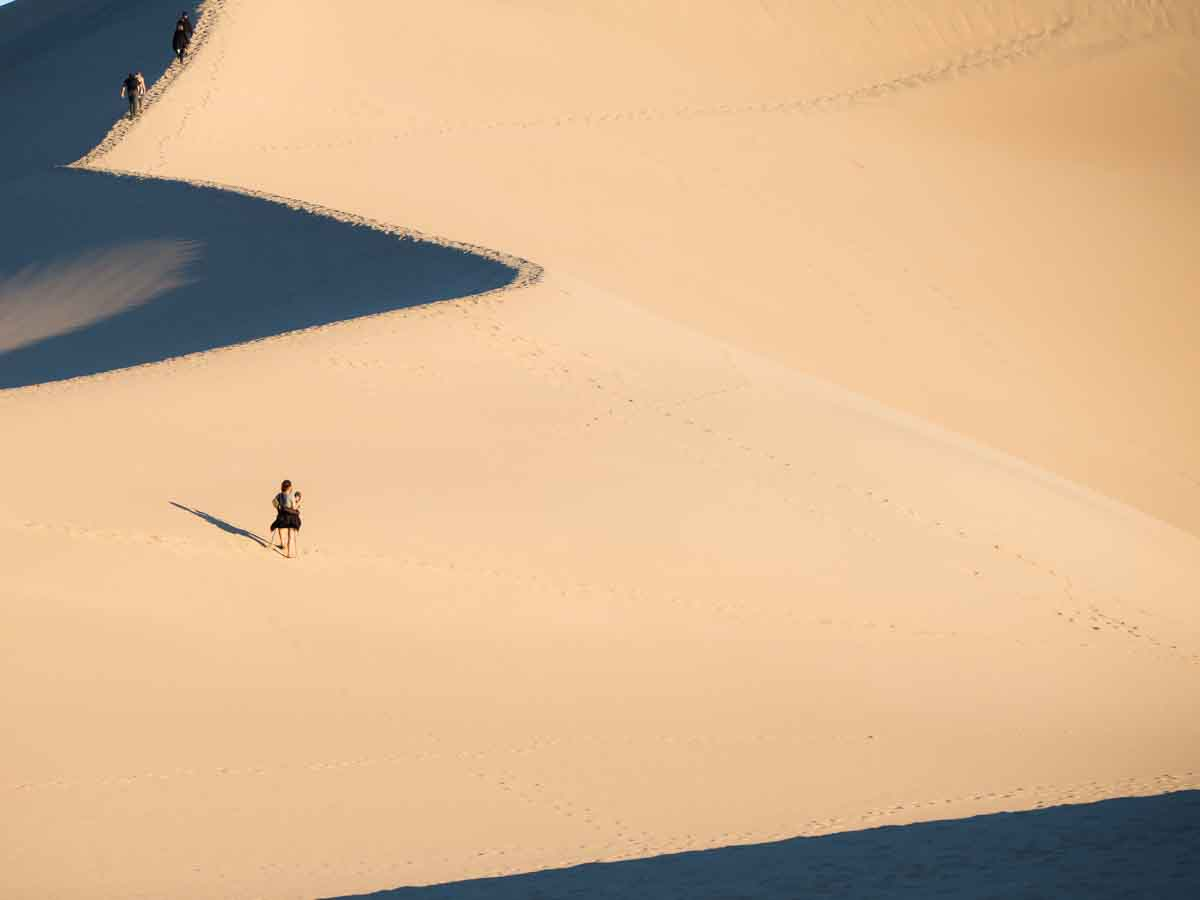 Mesquite Dunes at Dawn- hikers