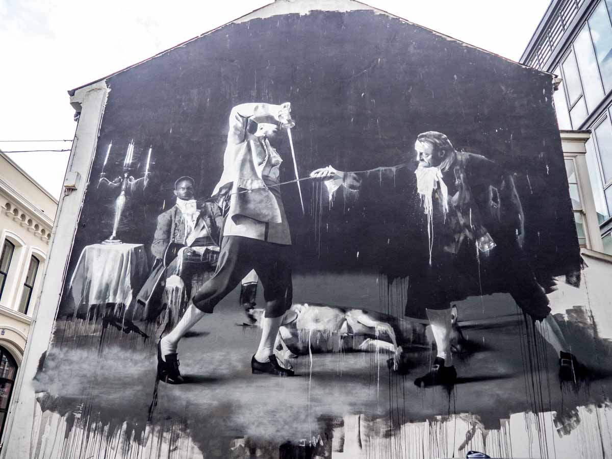 Belfast Street Art Swordfight