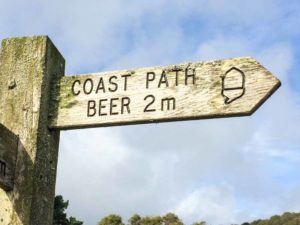 England Beer Coast Path Sign