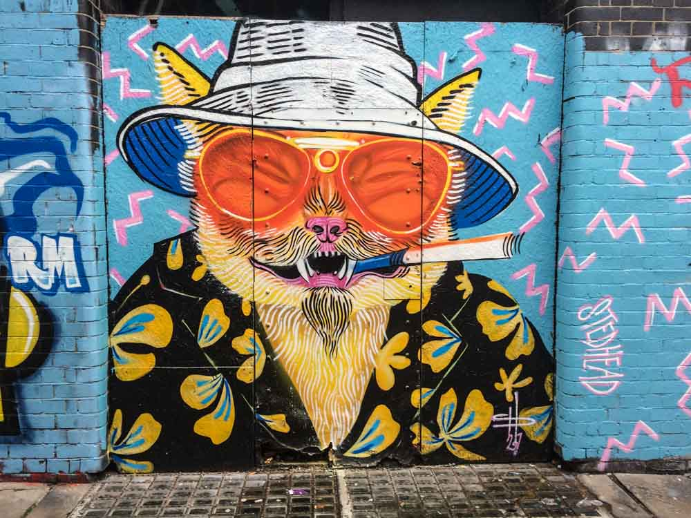 Shoreditch mural smoking Dog