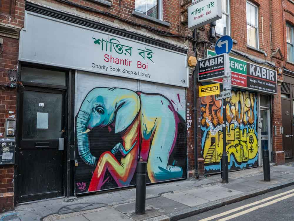 Brick Lane streetart elephant by Falkoone