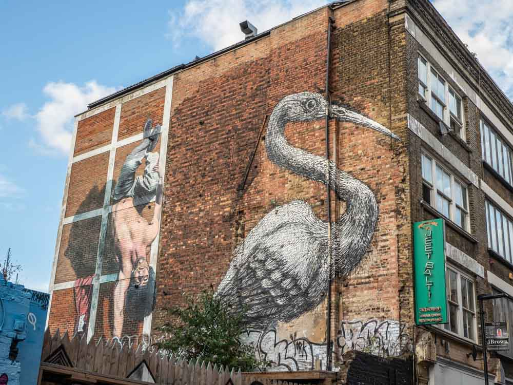 Brick Lane mural Heron by Roa