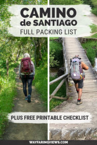 Complete Camino de Santiago packing list- man and woman hiking with backpacks