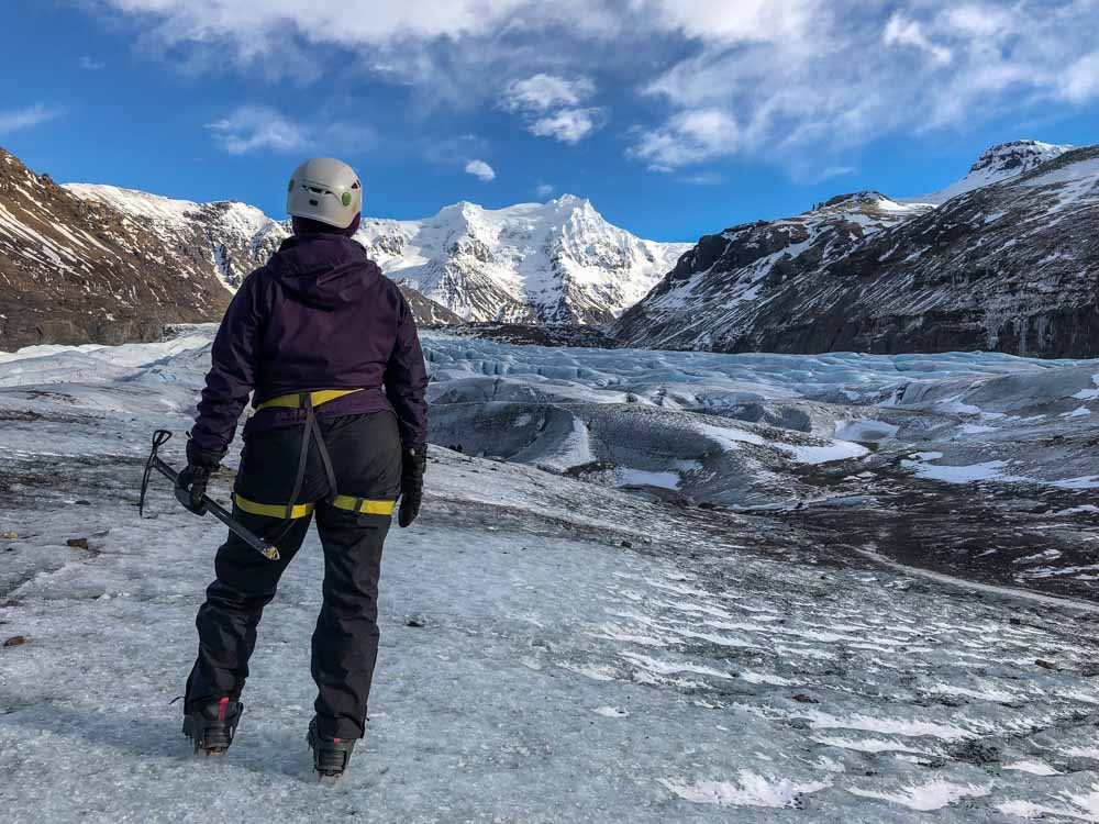 Iceland Svinafellsjokull Glacier Hike while doing solo travel in Iceland
