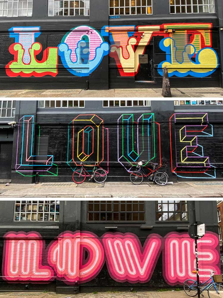 Ben Eine Love mural in Shoreditch London