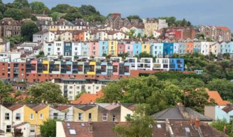 Bristol England Colored Houses overlooking the harbor