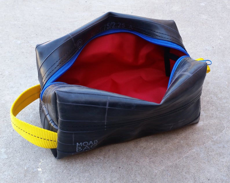 Recycled tire dopp kit from Etsy