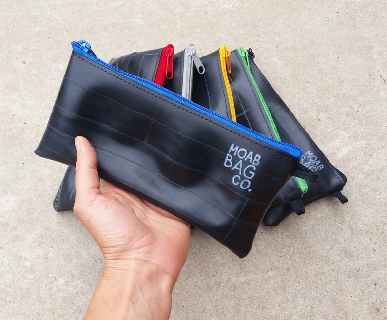 Recycled bike tire gear bag from Etsy