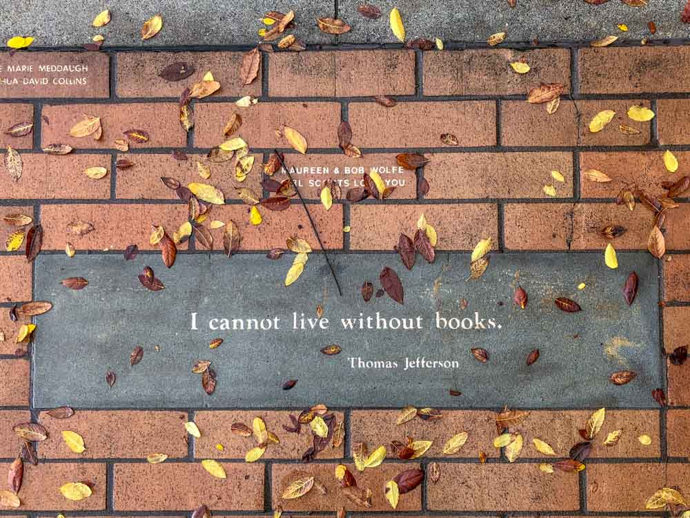 I cannot live without books. Book quote by Thomas Jefferson on bricks with leaves