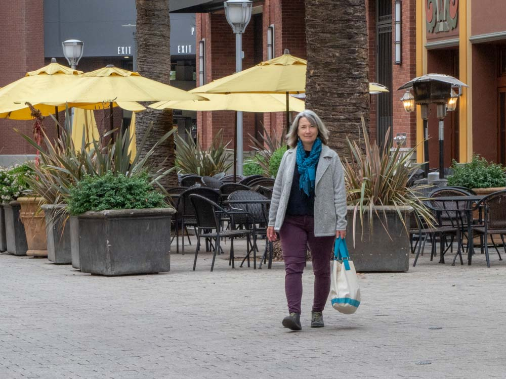 Running errands in Downtown Redwood City developing sustainainable habits