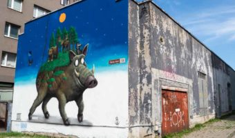 Tallinn mural by Goal. Mystical boar and elk