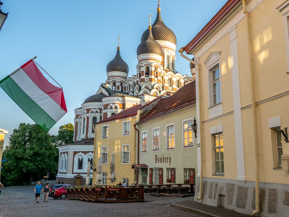 Tallinn Toompea Hill Alexander Nevsky Cathedral. Tallinn one day tour. Church with onion domes and yellow buildings