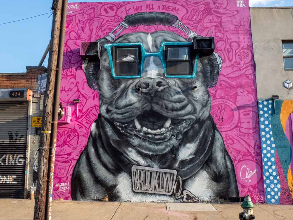 NYC street art Brooklyn dog mural Ruben Ubiera