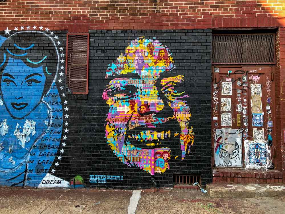 Street art in New York City: Bushwick face mural by Cabano Spiritu