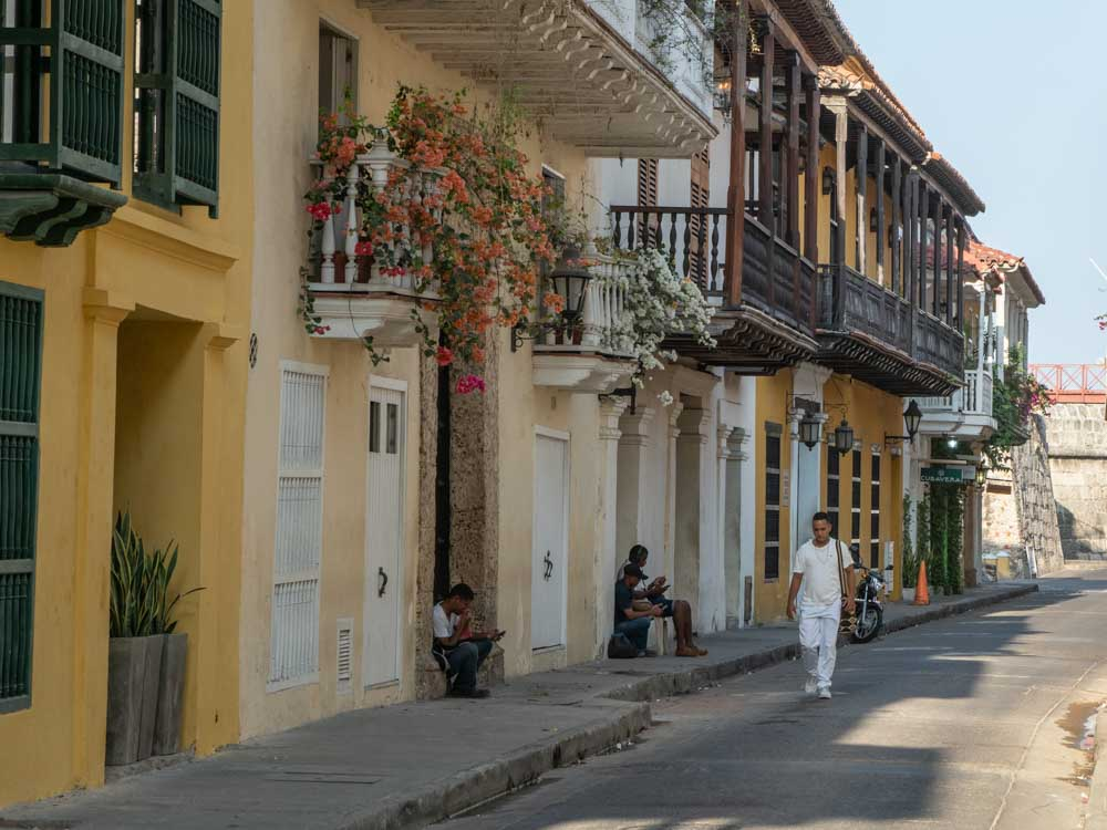 Cartagena colombia morning street scene on a two week Colombia itinerary