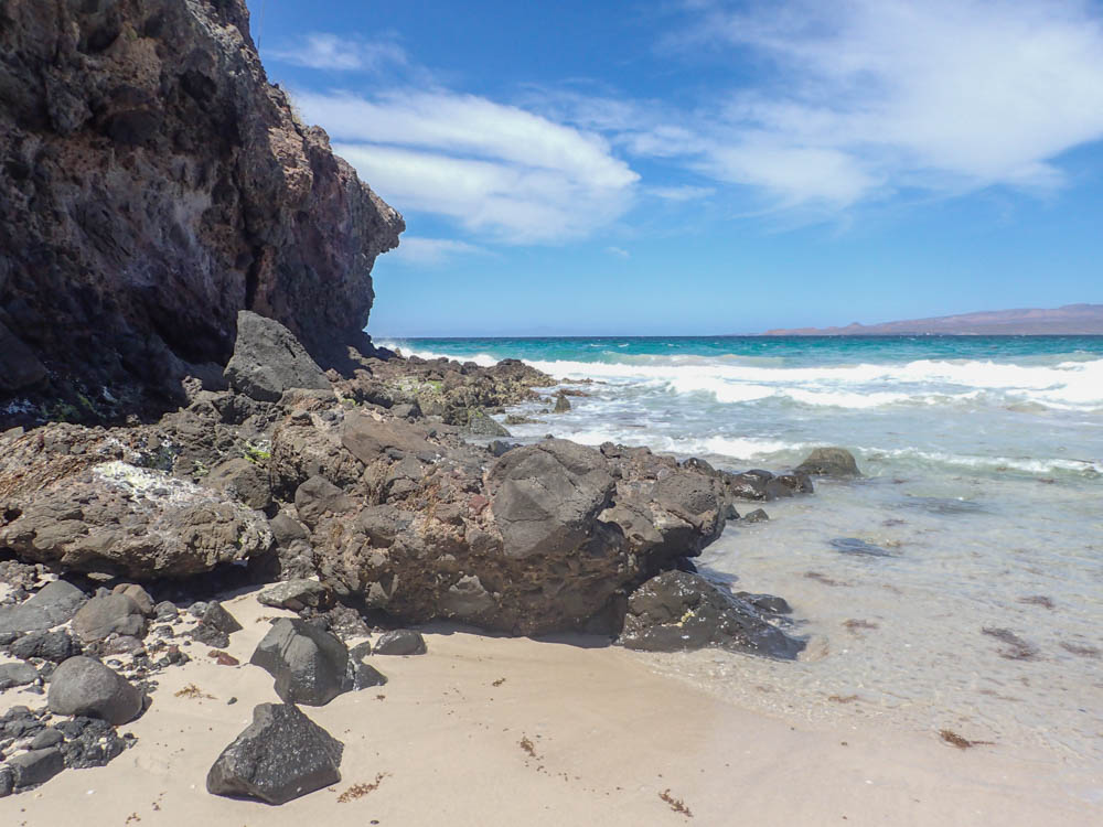 Rocky headlands at Tecolote Beach La Paz