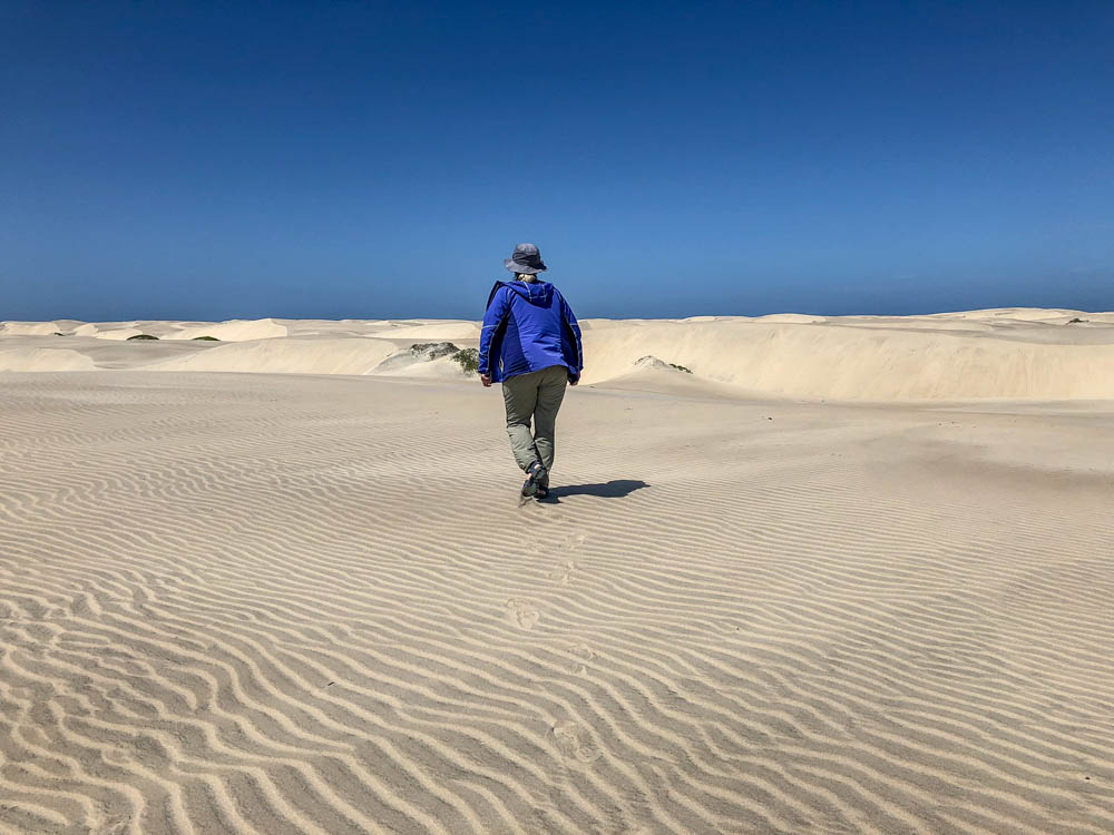 Magdalena Bay, Baja Mexico sand dunes. Woman in purple coat walking