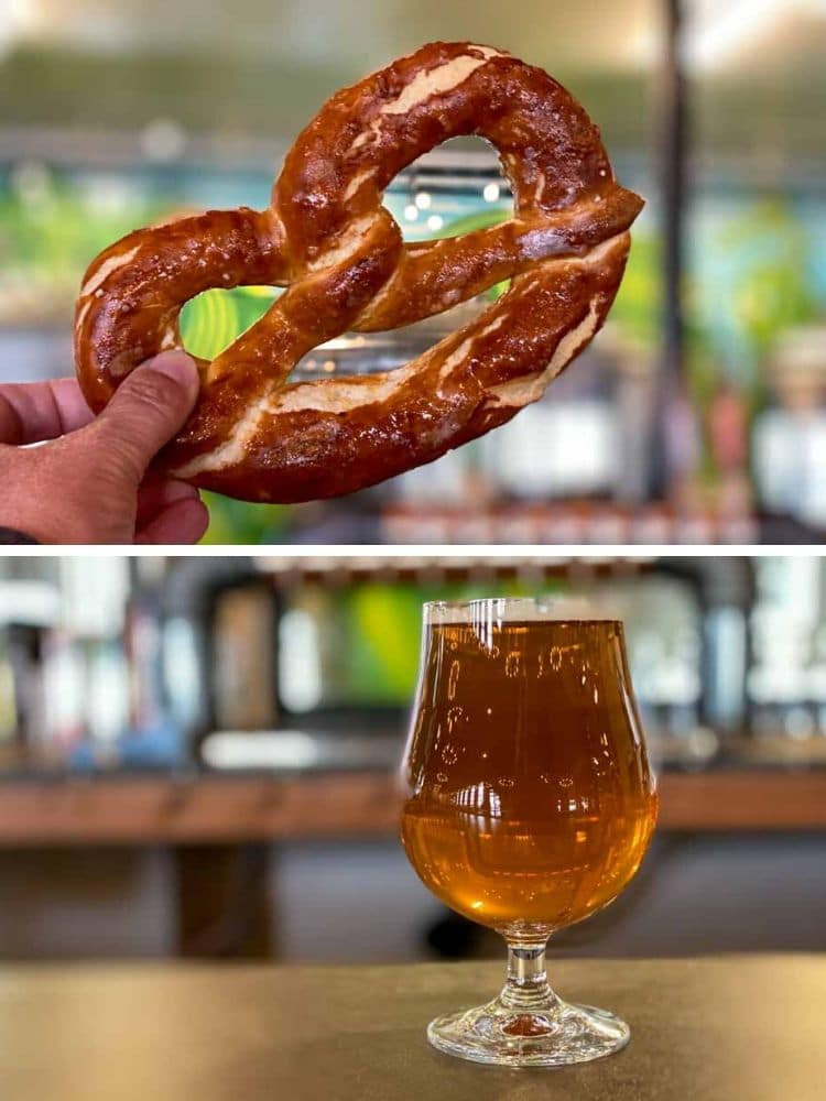 Utah Salt Lake Bewilder Beer. beer glass and pretzel