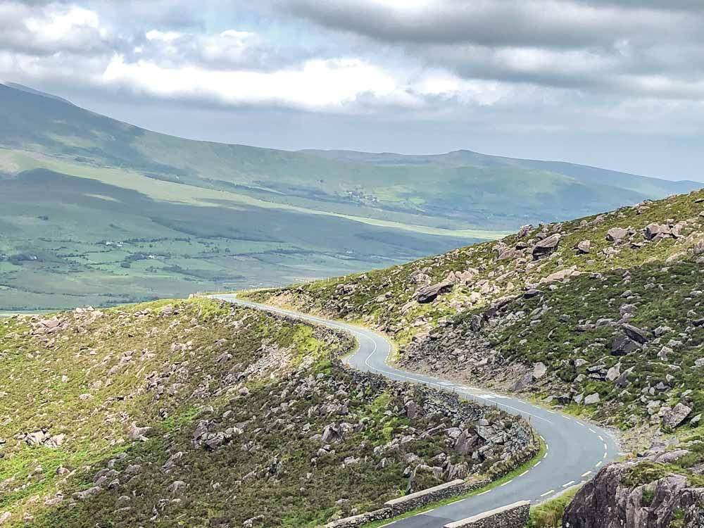 Driving Ireland Road on ConordPass Dingle Peninsula whi
