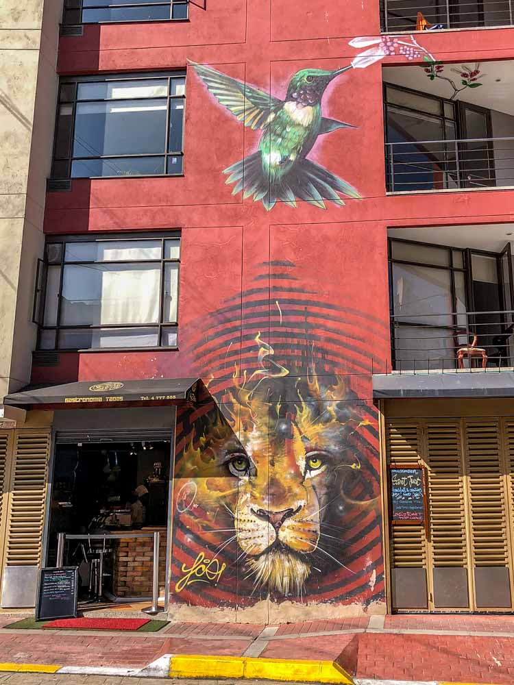 Bogota mural- lion and bird with red background by Franco