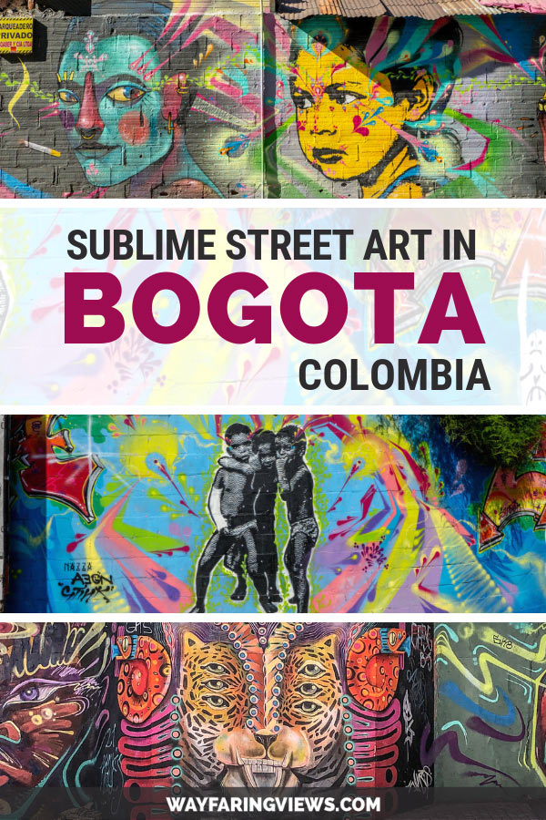 Street art in Bogota with images of human and cat figures