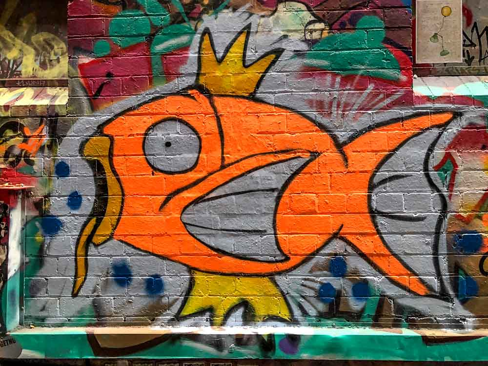 Fish street art in Artists Alley Melbourne. Orange and green fish