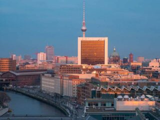 Berlin at sunset from Reichstag dome