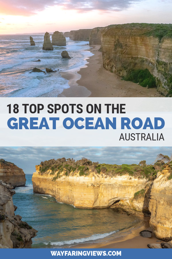 Great Ocean Road trip itinerary. Images of ocean and cliffs