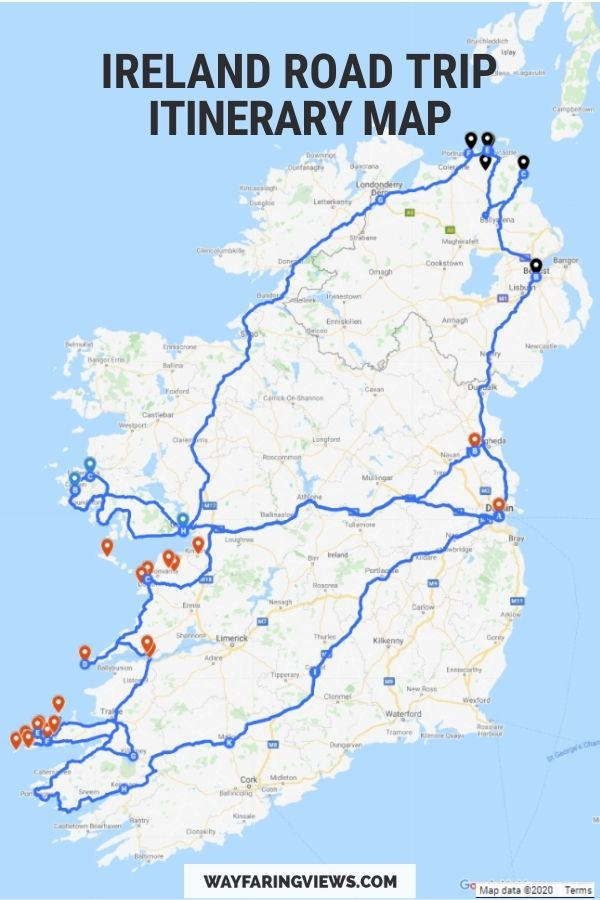 Ireland Road Trip Itinerary Map