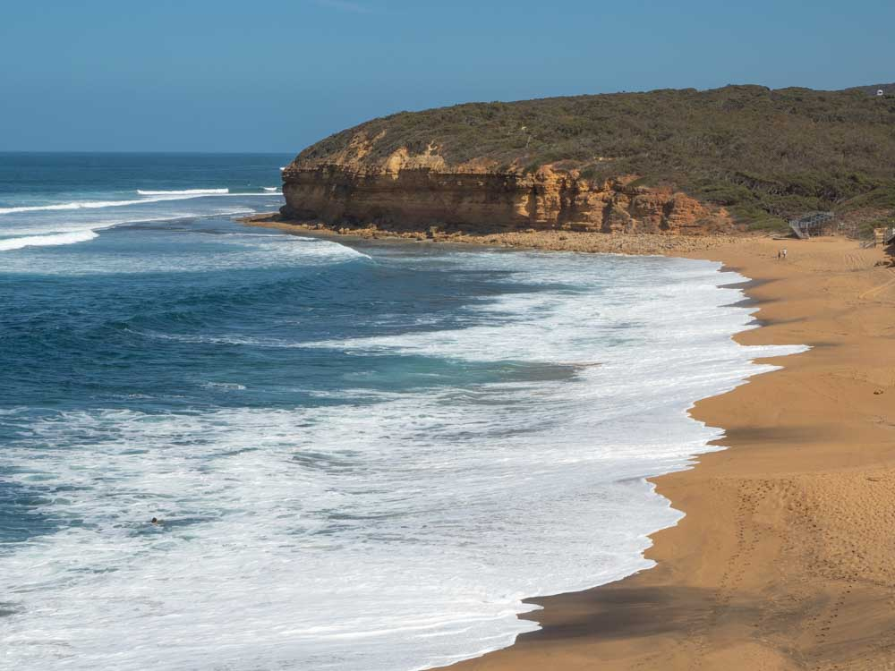 Bells Beach in Victoria Australia. Beach and cliffs on the Great Ocean Road drive