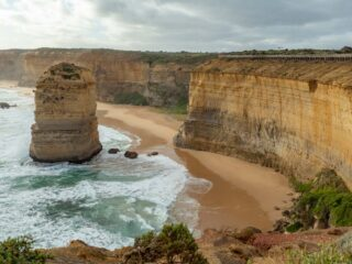 Australia Great Ocean Road 12 Apostles. Coastal view with limestone stacks