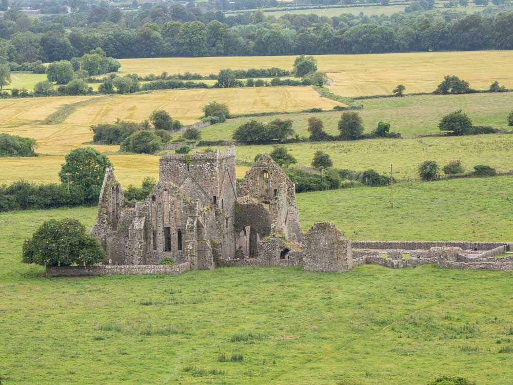Hore Abbey Cashel Ireland. Rock ruin in a field.