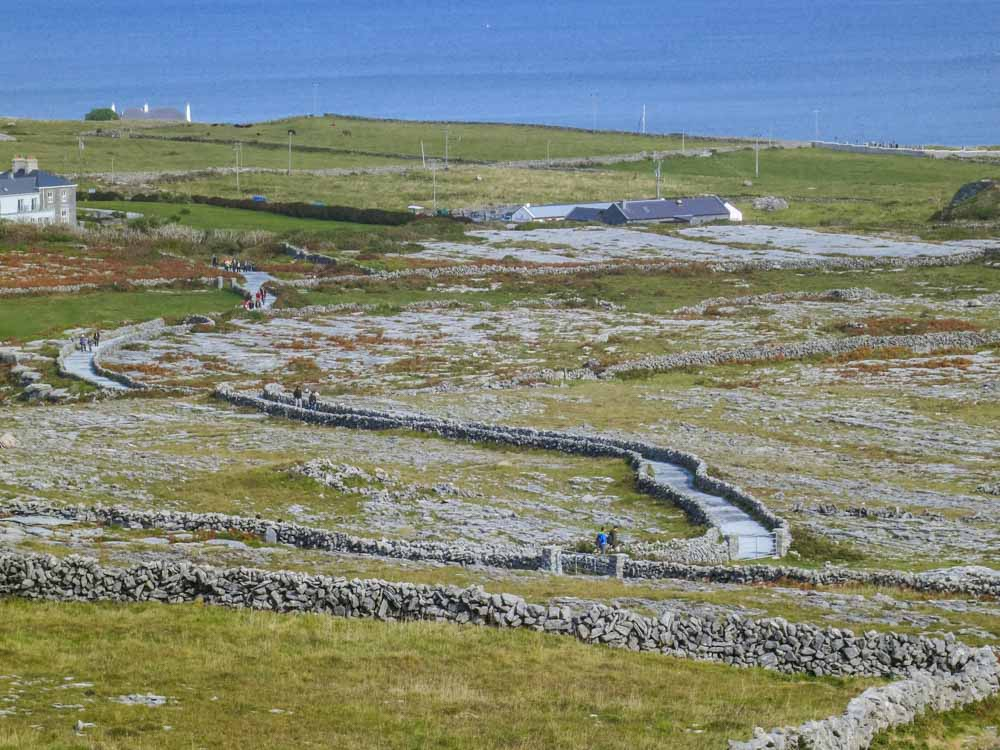 Inishmore in Ireland clifftop fort. Landscape with stone walls