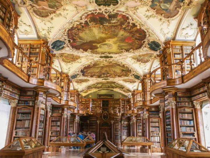 Switzerland Abbey Library of Saint Gall in Gallen. Decorative ceiling and bookshelves
