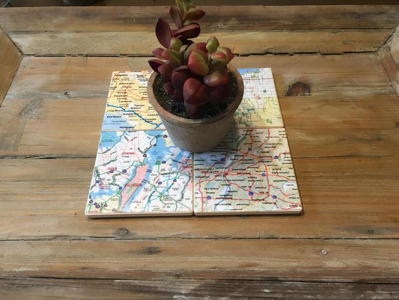 Small travel gifts: Etsy map coaster