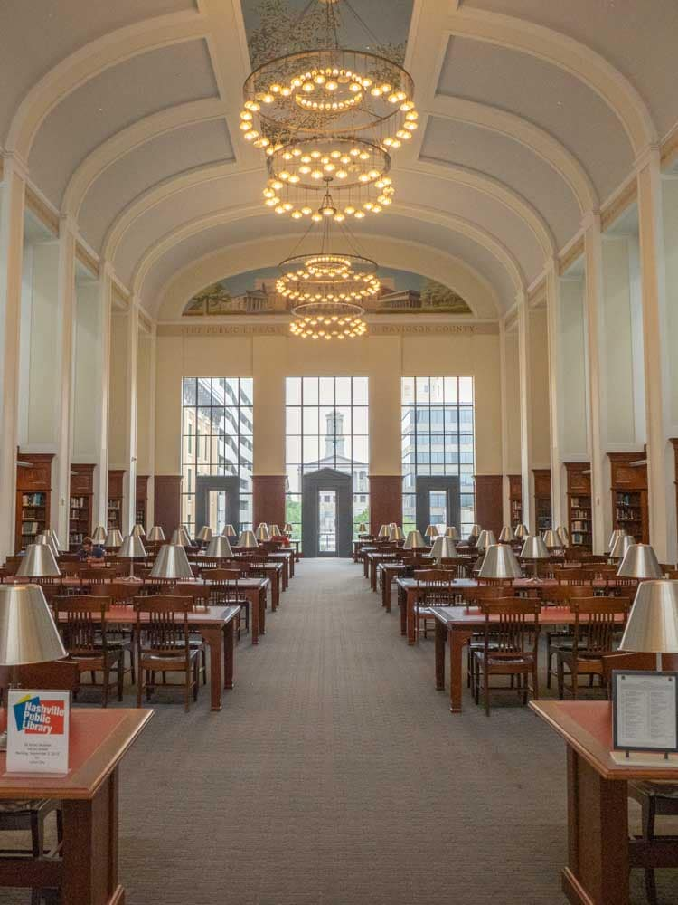 Nashville Tennessee Main Library reading room with tables and chairs