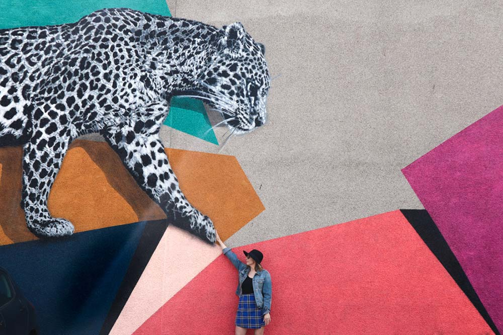 Aberdeen Scotland Nuart Festival. Leopard with woman