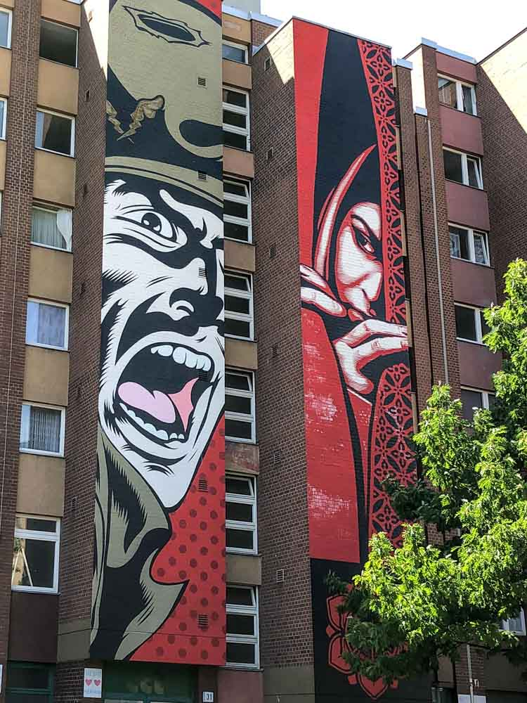 Berlin murals by D*face and Shepard Fairey