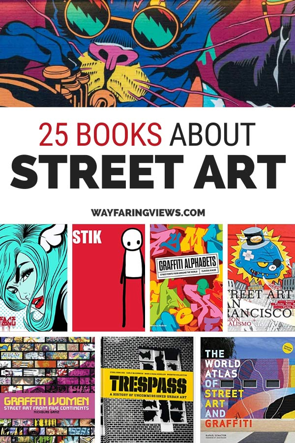25 best Books about street art and graffiti. book covers red, blue and black