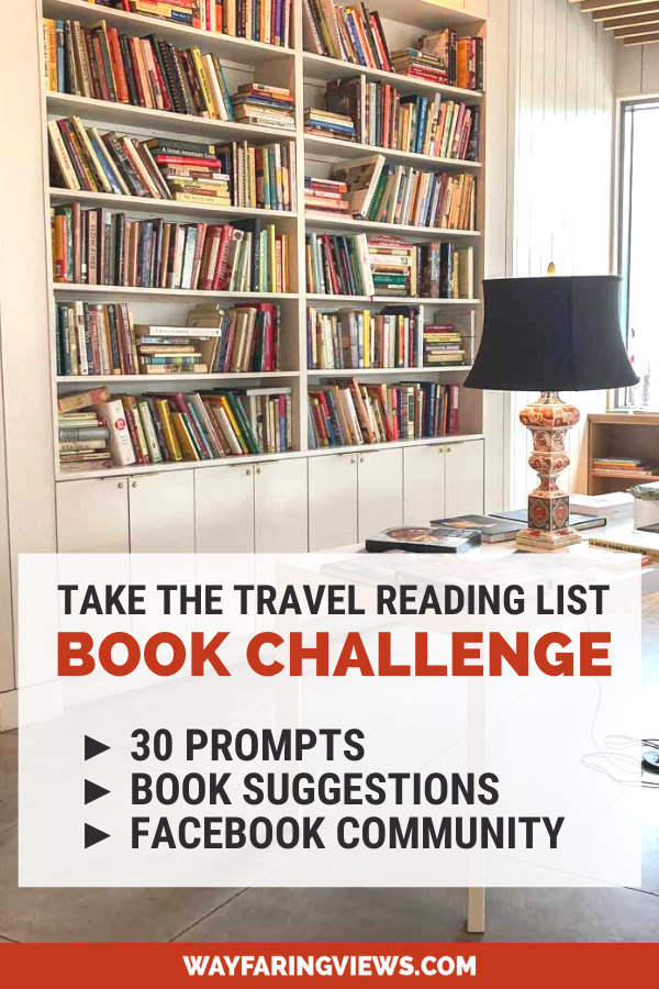 Take the Travel reading list challenge. Book challenge with reading prompts. Lamp and bookshelves