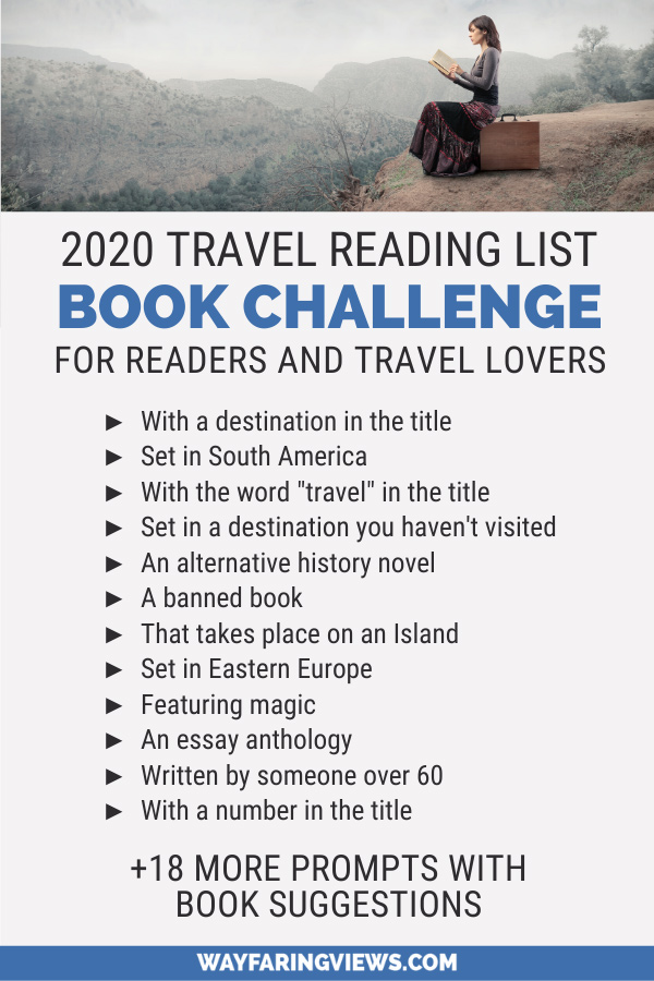 Travel Reading List Challenge. Book challenge with reading prompts