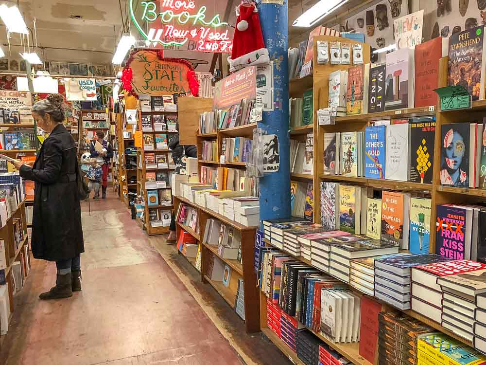 San Francisco's Green Apple Books. Bookstore interior with a man browsing