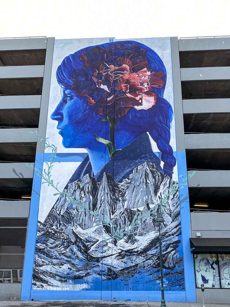 Reno downtown mural by Eric Burke. Blue woman