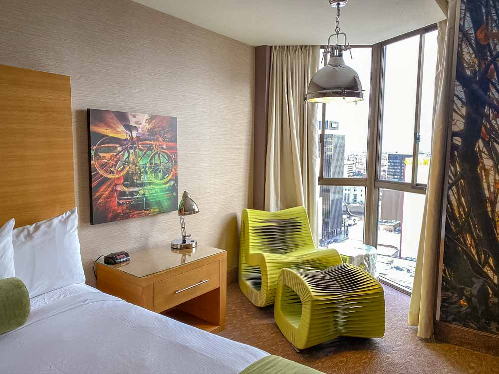 Whitney Peak Hotel room interior with green chair