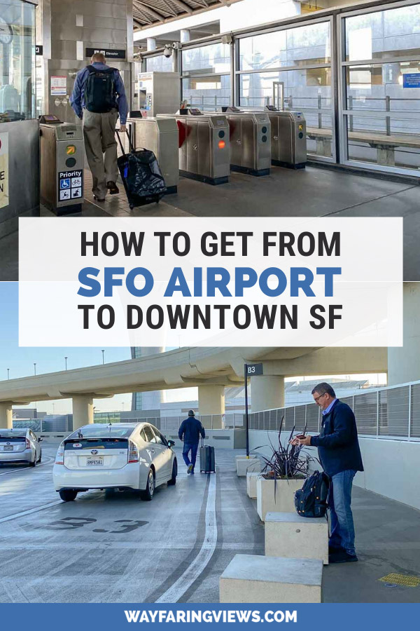 SFO airport to downtown San Francisco- men with luggage
