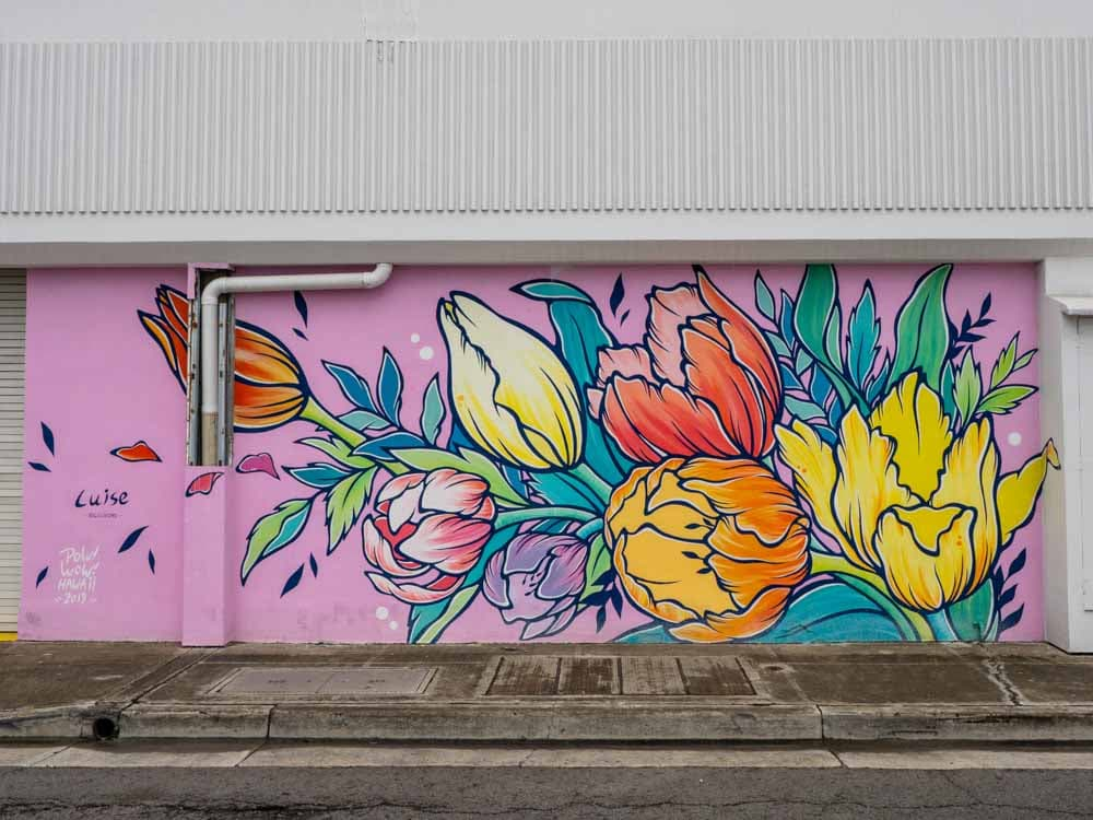 Louis Ono POW!WOW! mural in Honolulu. red and yellow flowers on a pink background