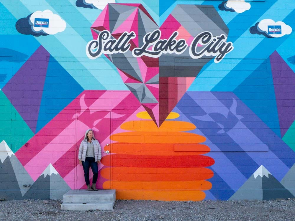 Salt Lake City Mural by Pat Milbery, Pat Mckinney. pink, orange, blue and grey mural