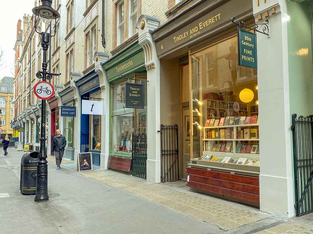 Cecil Court bookshops in London. Street scene with bookstores