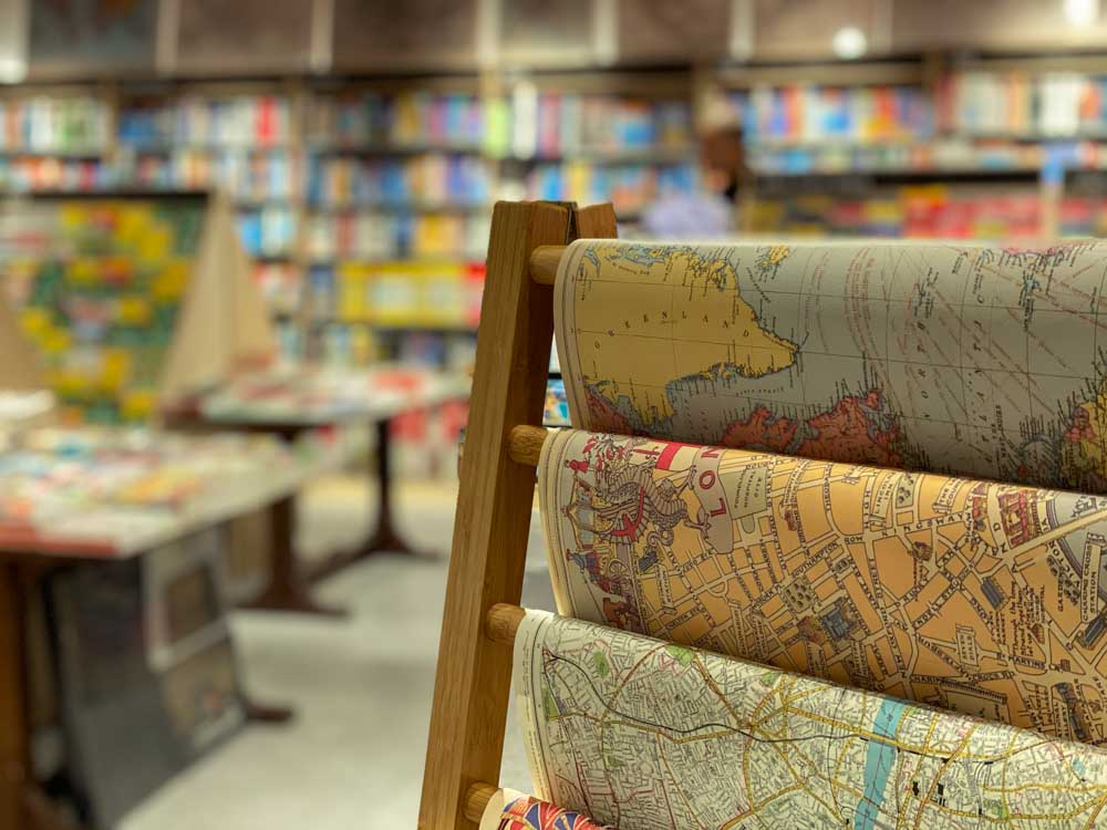 Stanfords travel bookstore Covent Garden London. Picture of maps