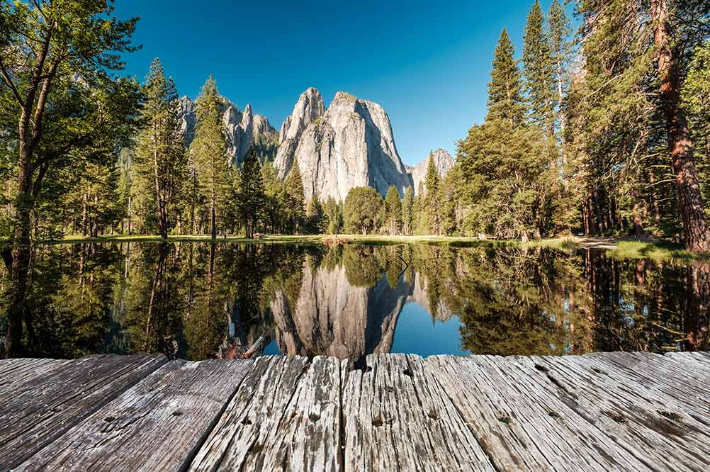 San Francisco to Yosemite. Merced River with deck and trees